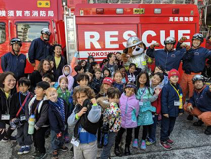 YBS elementary took a field trip to Yokosuka fire department today!